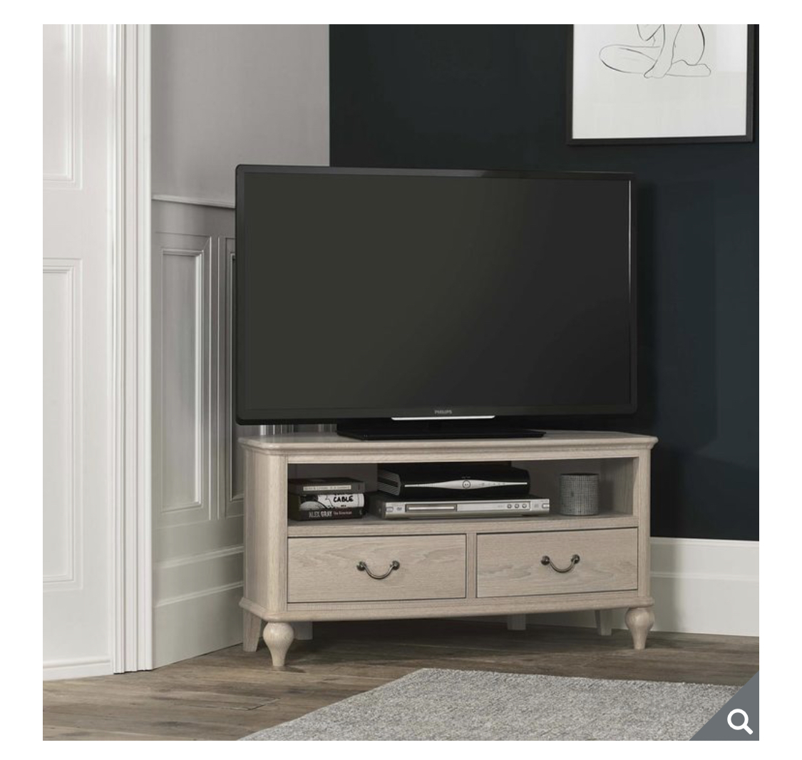 Bentley Designs Margaux Chalk Oak Corner TV Cabinet for TVs up to 50""