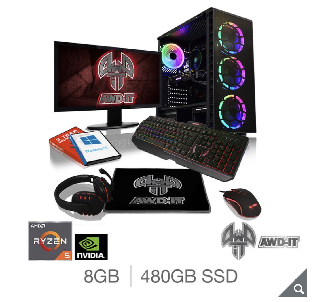 "AWD-IT Ranger 5 Plus, AMD Ryzen 5, 8GB RAM, 480GB SSD, NVIDIA GTX 1650, Gaming Desktop PC with 23.6"" Full HD LED Widescreen Monitor, RGB Gaming Keyboard & Mouse, Plus Headset & Mouse Pad"