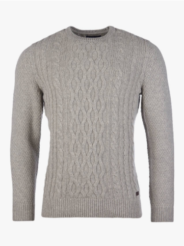 Barbour Chunky Cable Knit Crew Neck Jumper, Fog