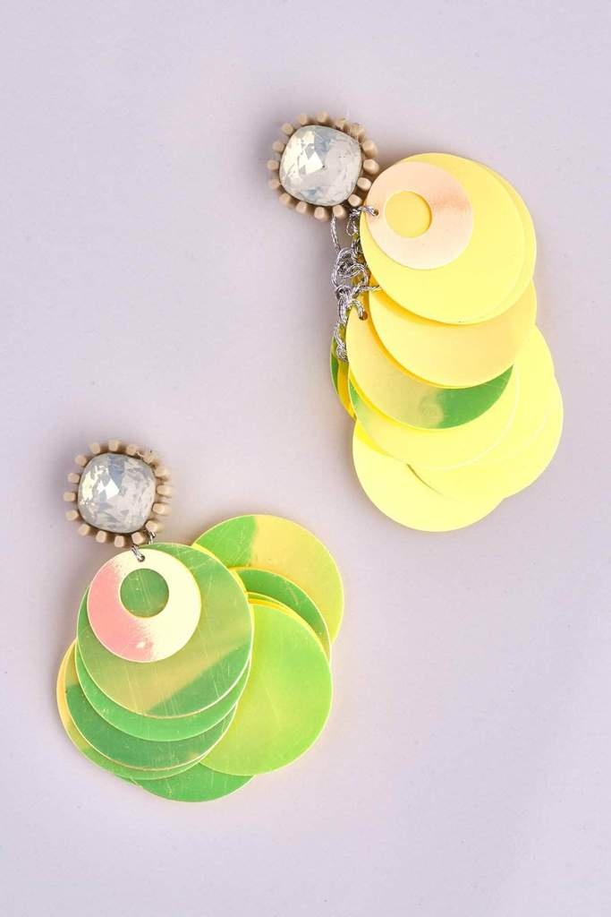Yellow Holographic Sequin Disc Earrings