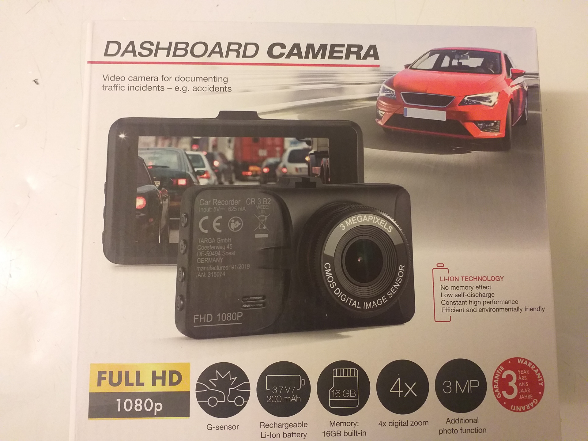 DASHBOARD camera liion technology