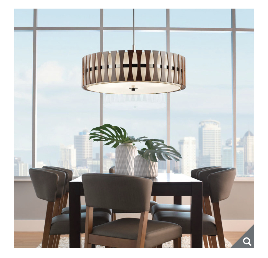 Kichler Cirus Five Light Pendant/Semi Flush Ceiling Light in Auburn Stained Wood