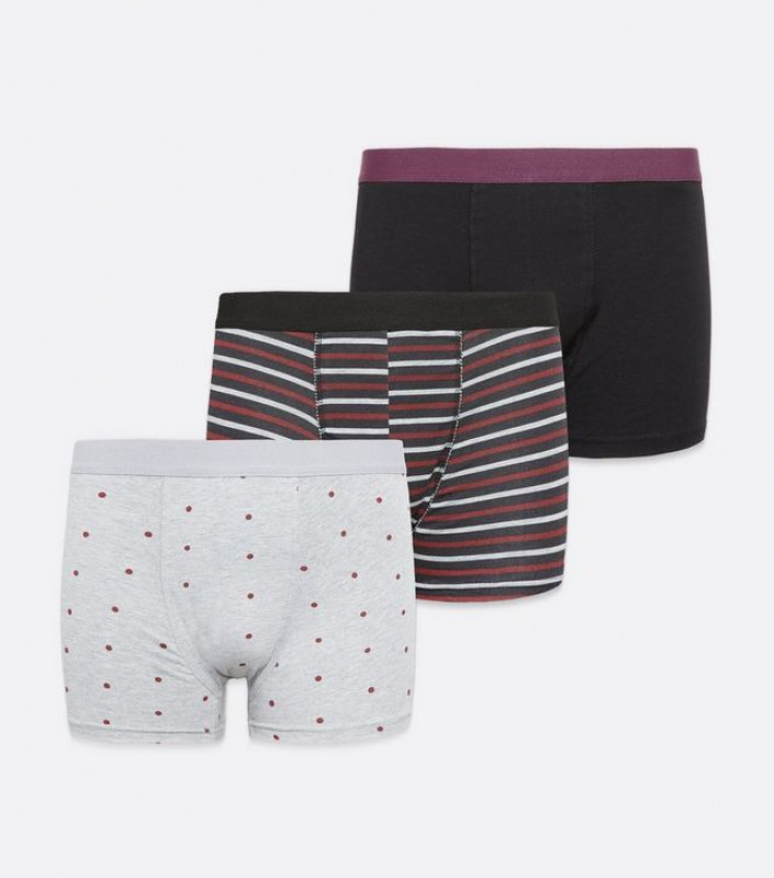 3 Pack Burgundy and Grey Stripe Spot Boxers