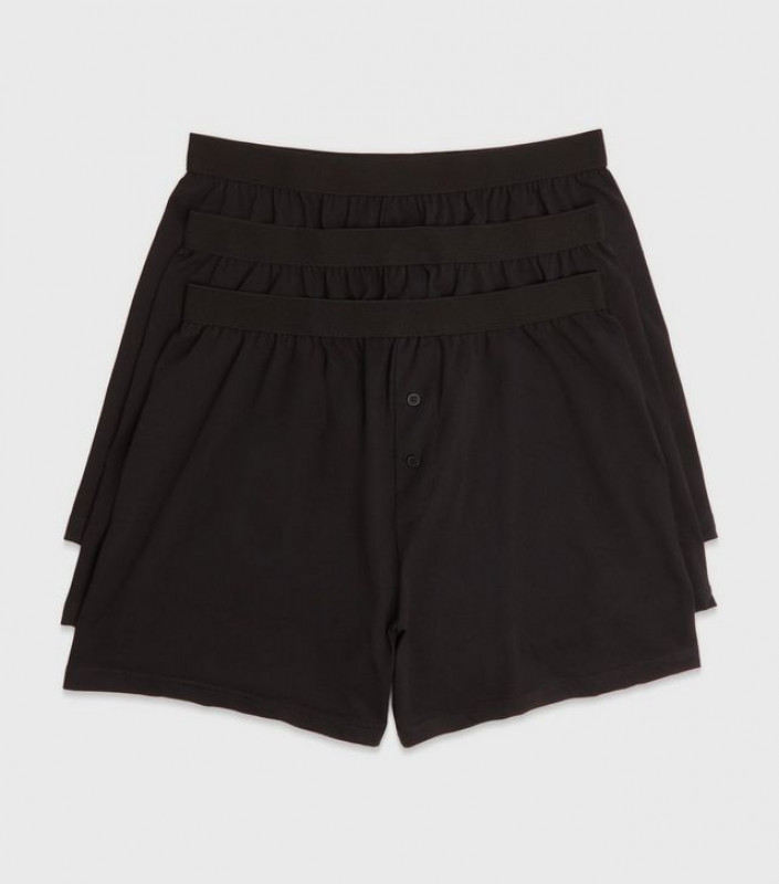 3 Pack Black Button Boxers