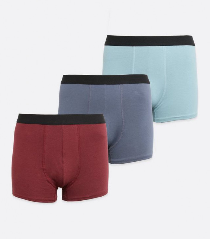 3 Pack Burgundy and Blue Boxers