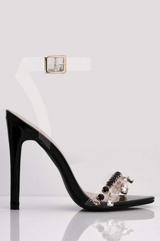 Black Patent Stilettos & Gem Embellished Droplets