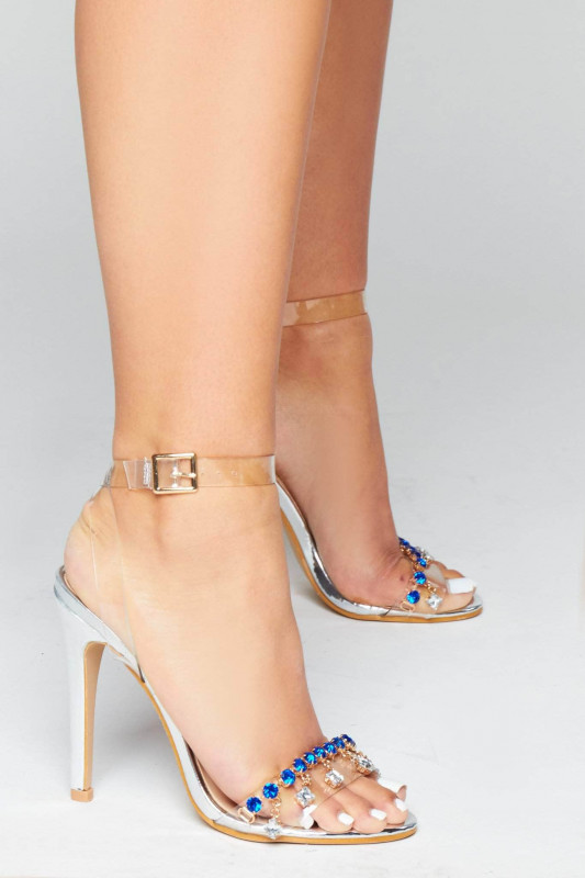 Silver Patent & Perspex Heels with Blue Gems