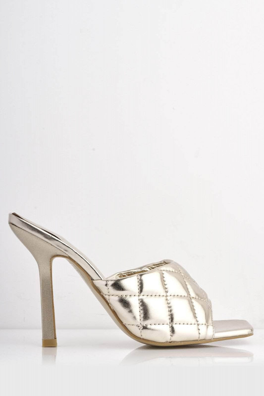 Gold Metallic Pu Square Toe Quilted Mules