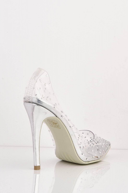 Silver Pointed Perspex Stiletto Heels with Diamantes
