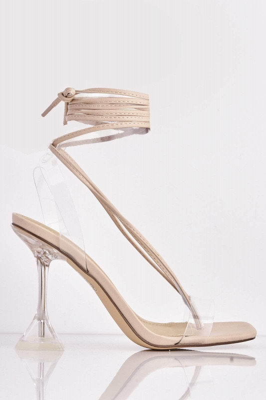 Nude Pu Lace Up Heels with Mid Flare Heel