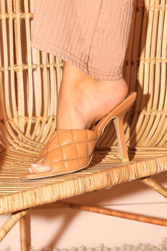 Camel Square Toe Quilted Mules