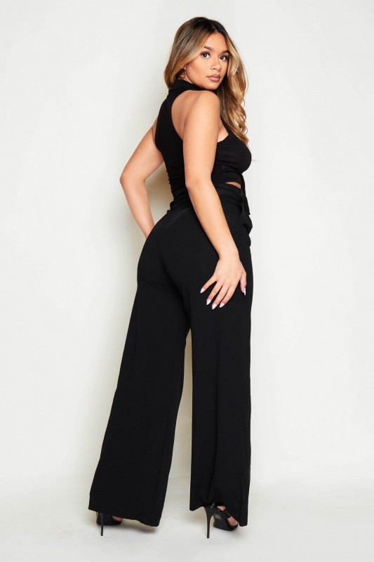 Black High Waist Seat Belted Flare Trousers