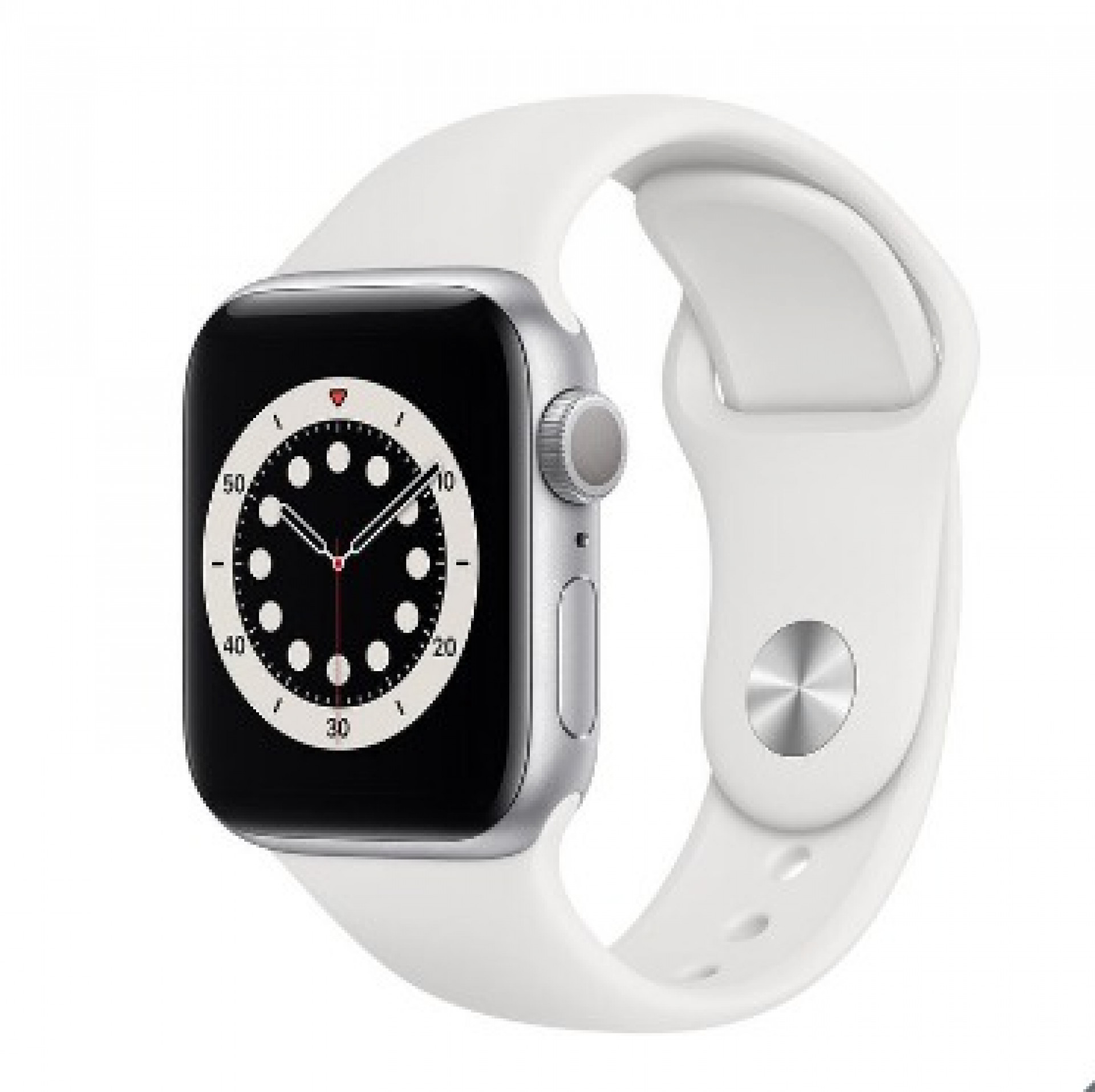 Apple Watch Series 6, MG283B/A, GPS, 40mm Silver Aluminium Case with White Sports Band
