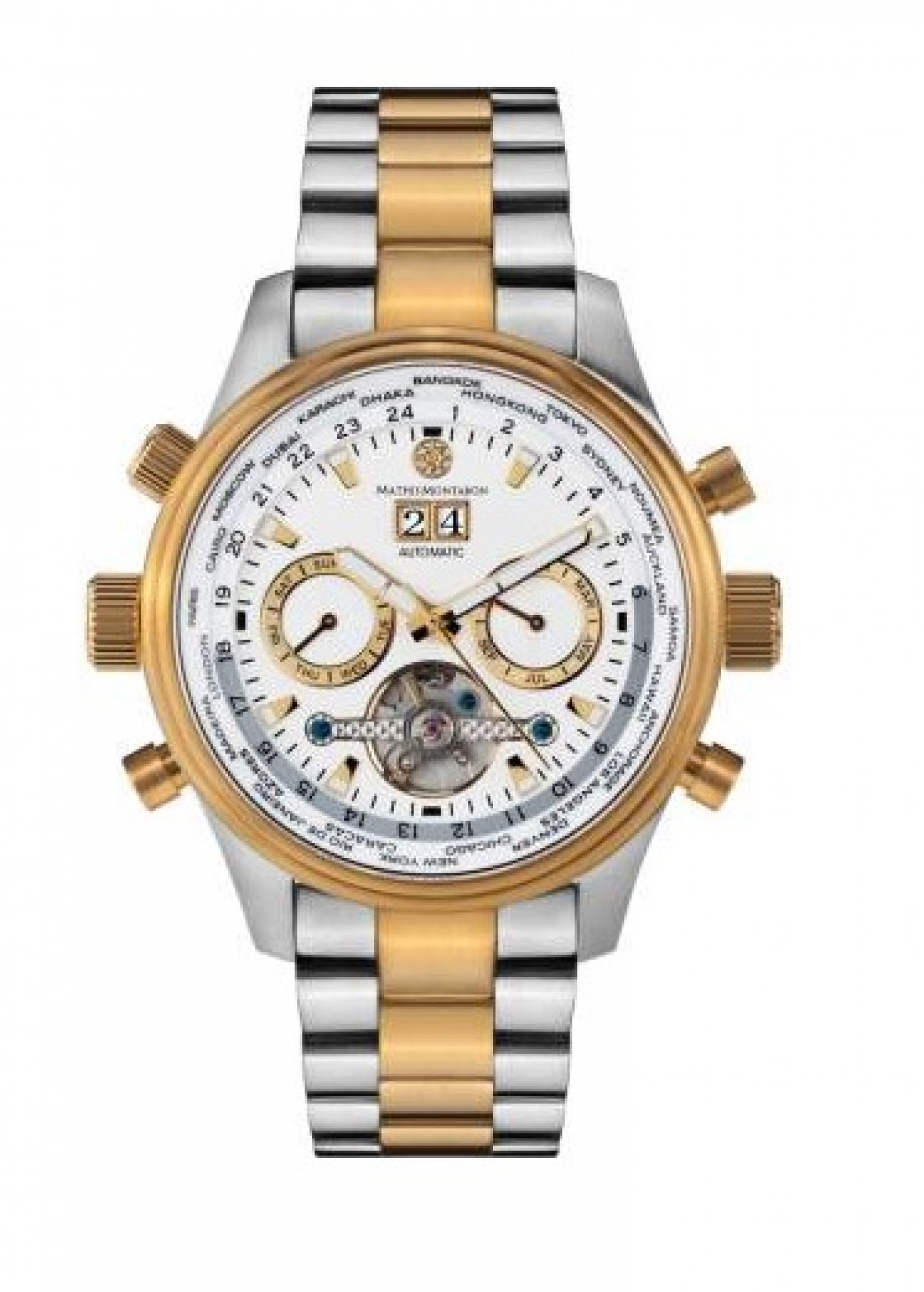 MATHIS MONTABON Men's Globe Trotter Silver and Gold Stainless Steel Watch