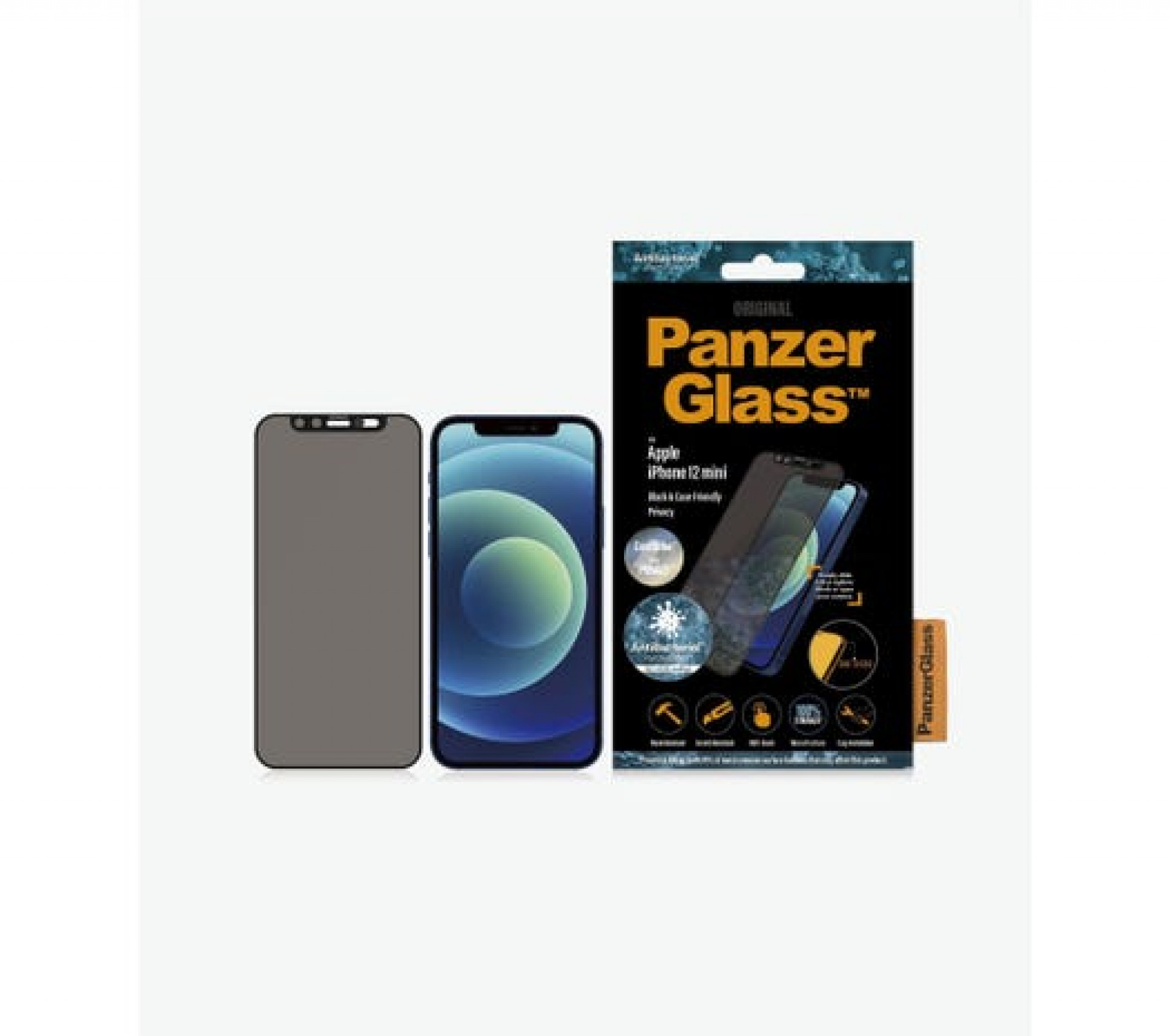 PanzerGlass iPhone 12 Mini Case Friendly CamSlider Dual Privacy Screen Protector - Black
