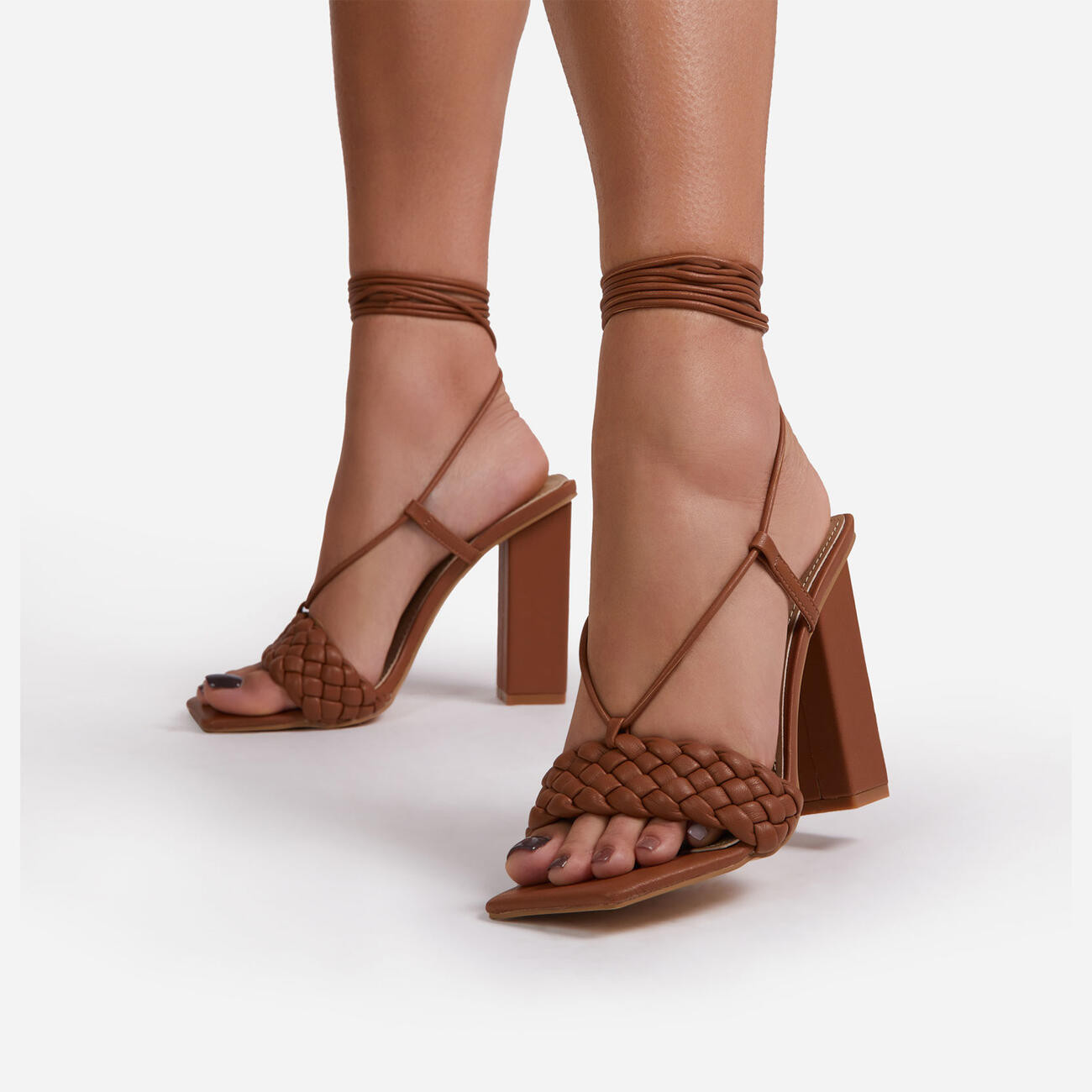 Pattaya Lace Up Square Toe Woven Block Heel In Tan Brown Faux Leather