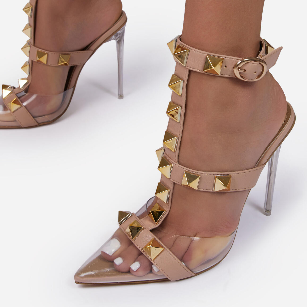 Grounded Studded Detail Pointed Clear Perspex Heel In Nude Faux Leather