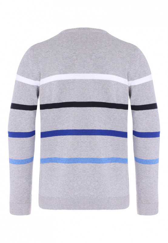 Mens Grey Stripe Crew Neck Jumper