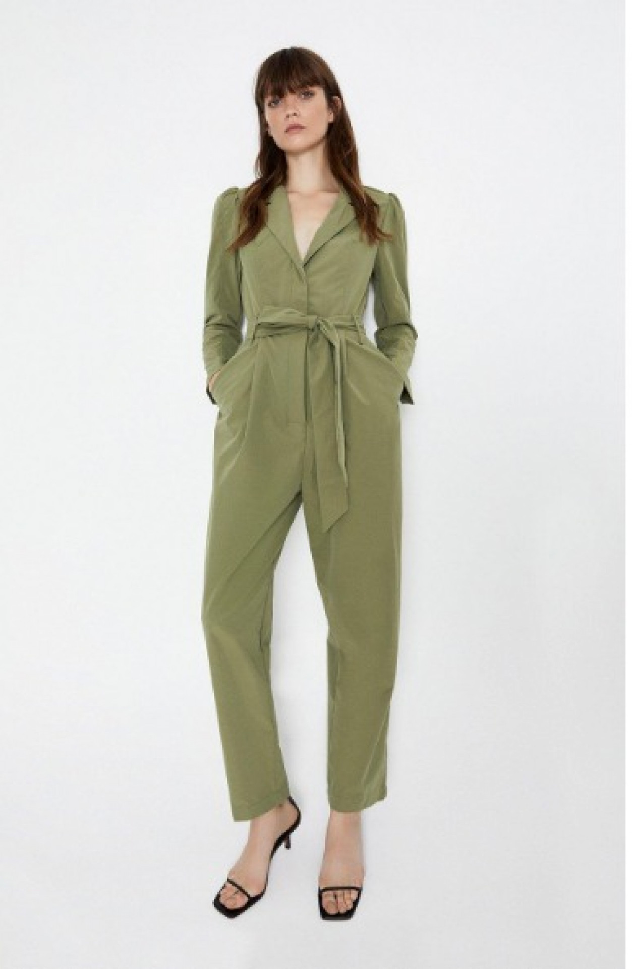 Puff Sleeve Belted Jumpsuit