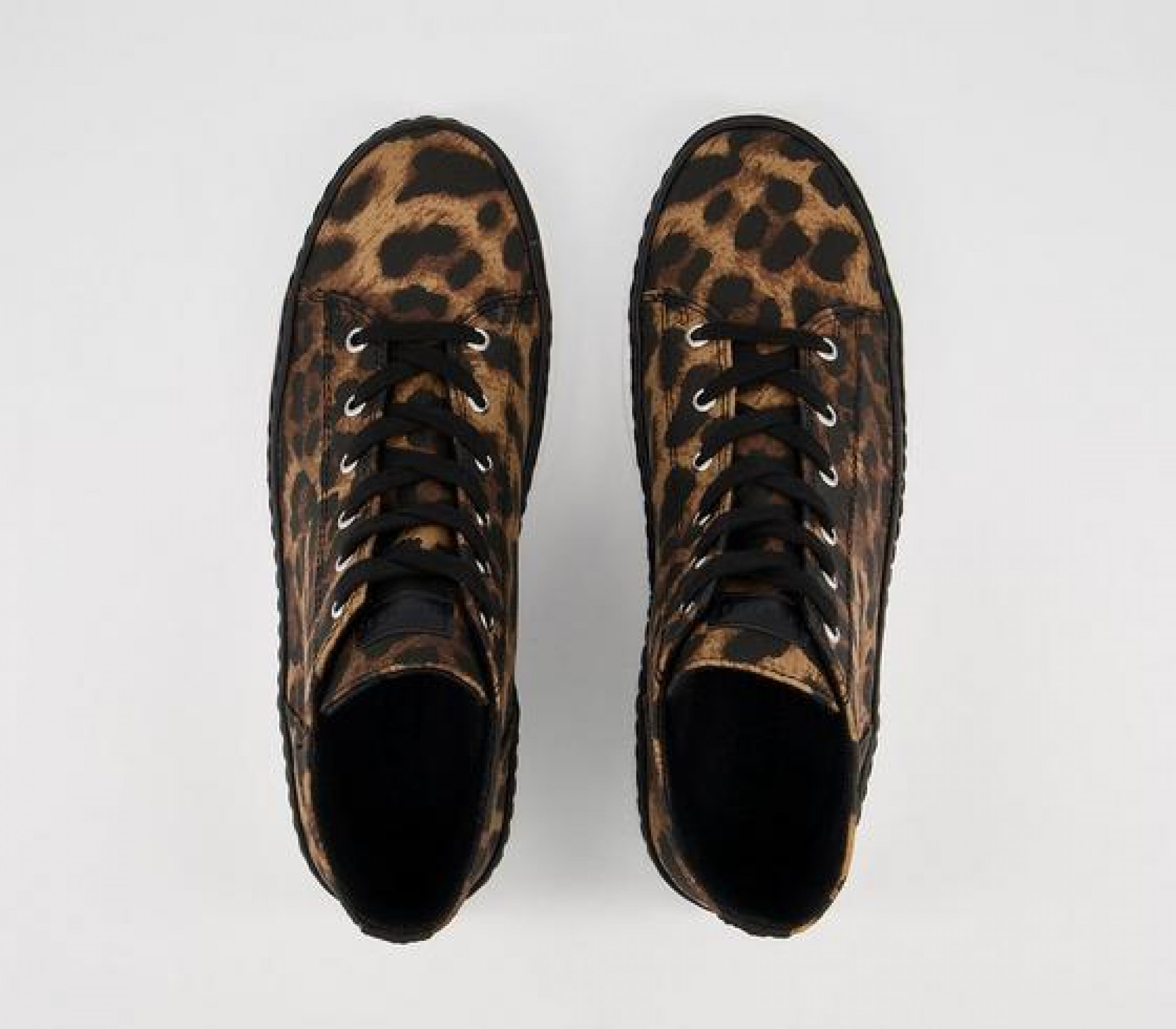 Office Fazed Lace Up High Top Trainers Leopard Canvas