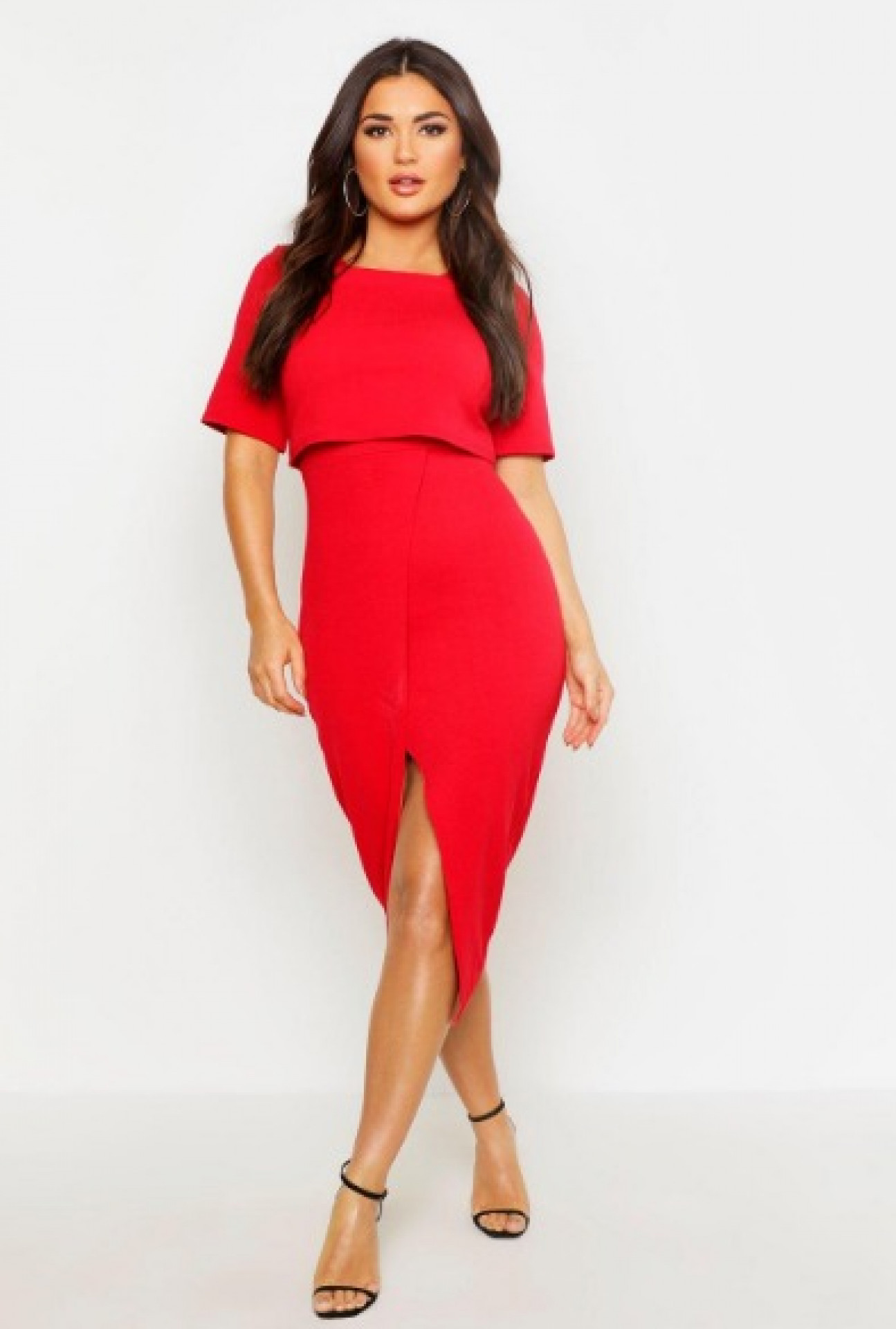 Layered Wrap Wiggle Midi Dress