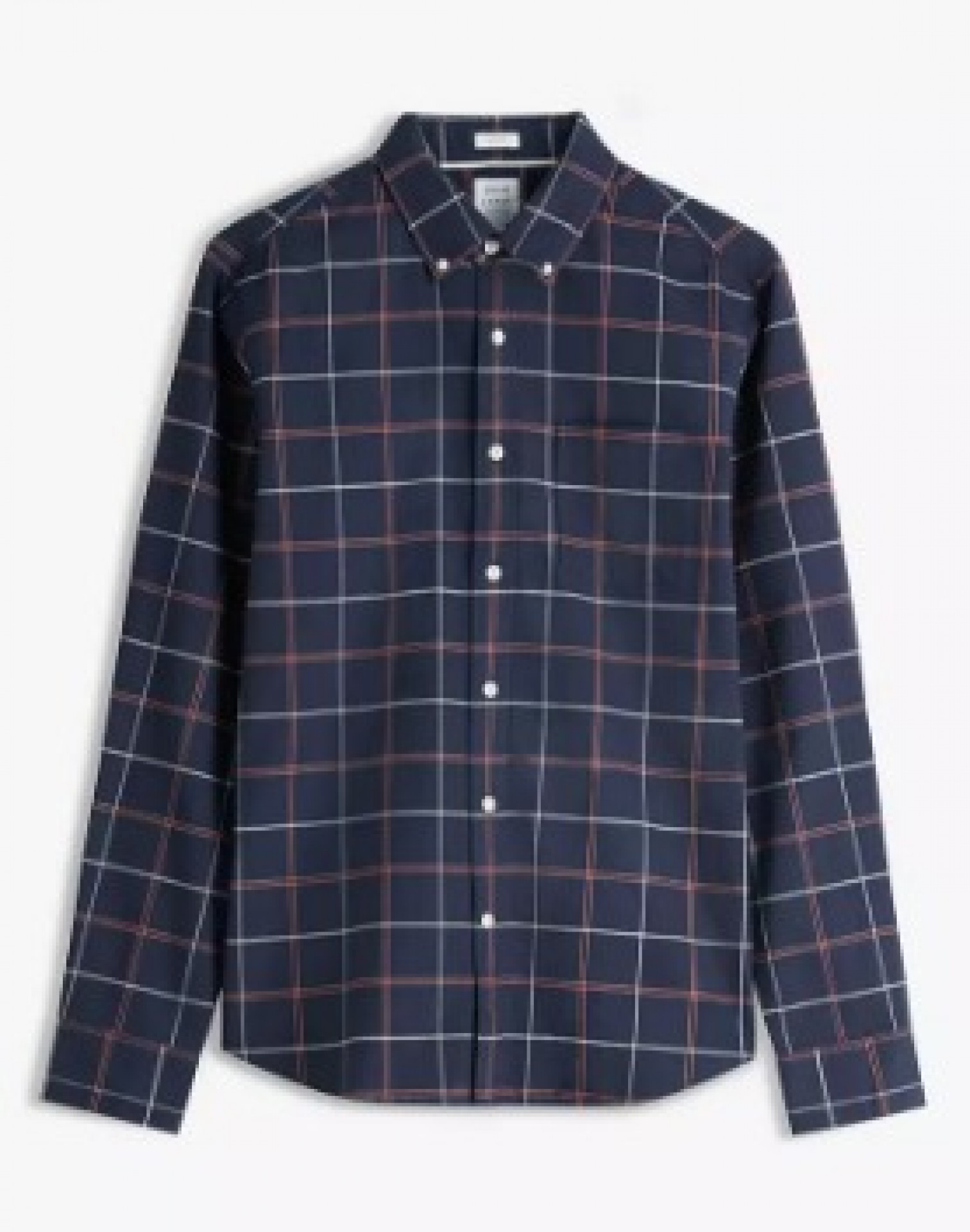 John Lewis & Partners Slim Fit Oxford Windowpane Check Shirt, Navy