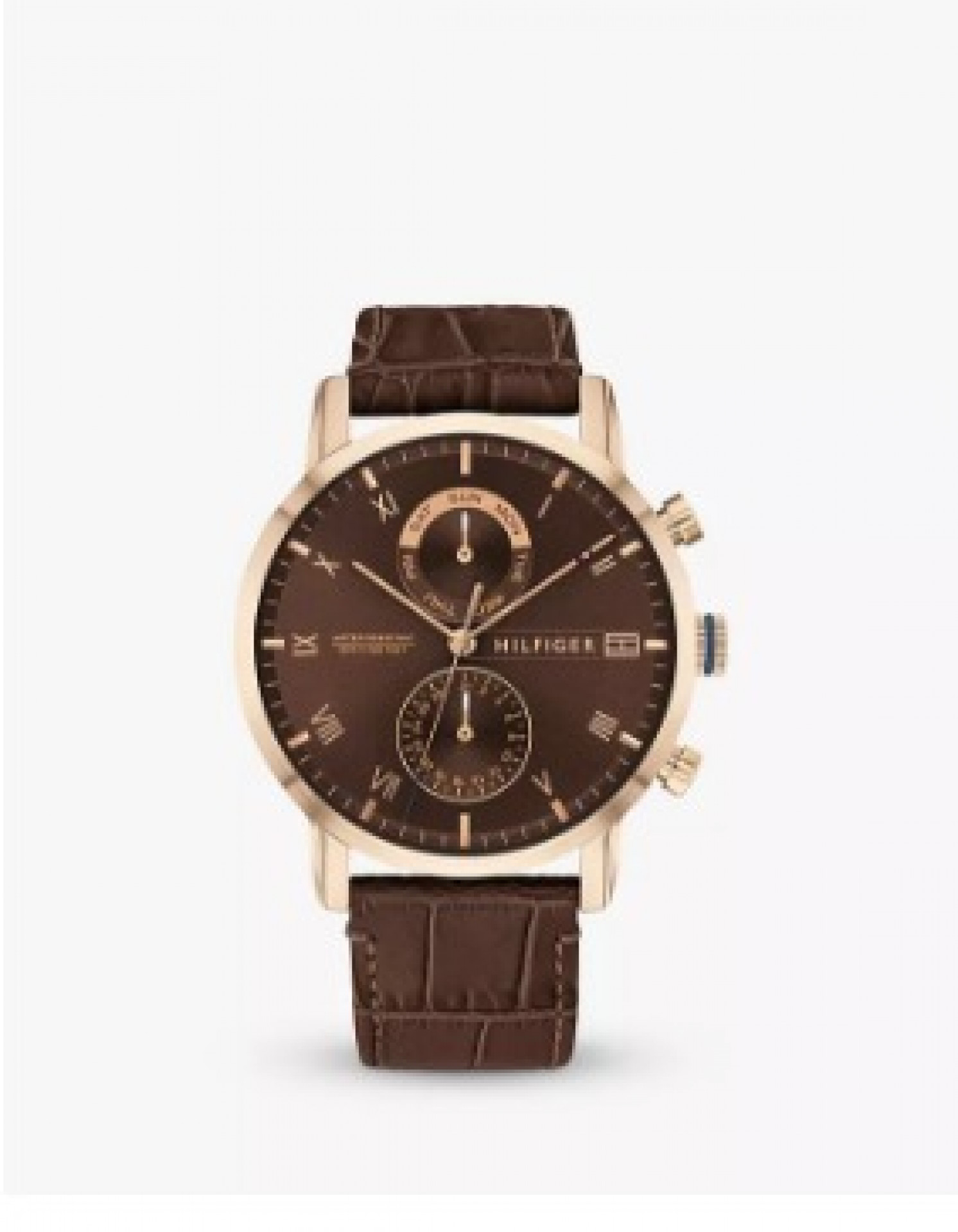 Tommy Hilfiger 1710400 Men's Chronograph Leather Strap Watch, Brown