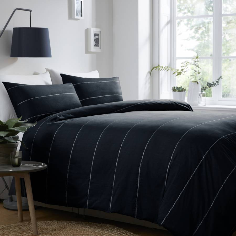 N°· ELEVEN Salcombe Double Duvet Cover Set, Navy/White