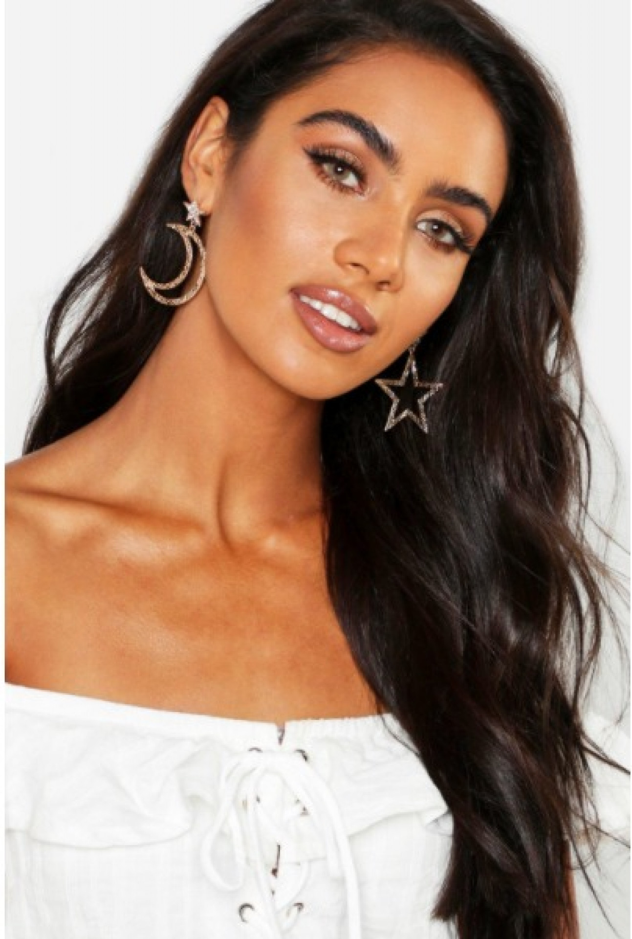 Star And Moon Statement Earrings