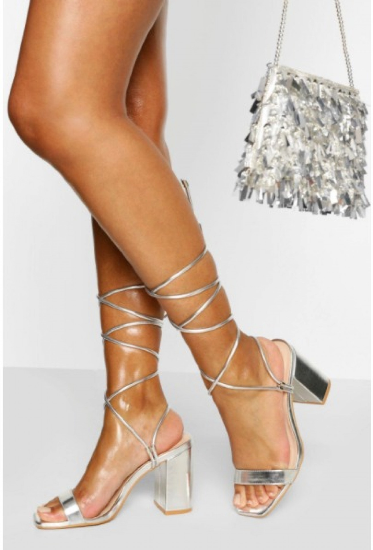 Ankle Wrap Two Part Block Heels