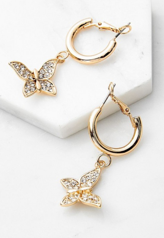 Diamante Butterfly Drop Earrings