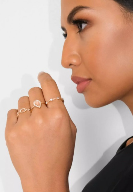 gold look chain and stone ring 3 pack