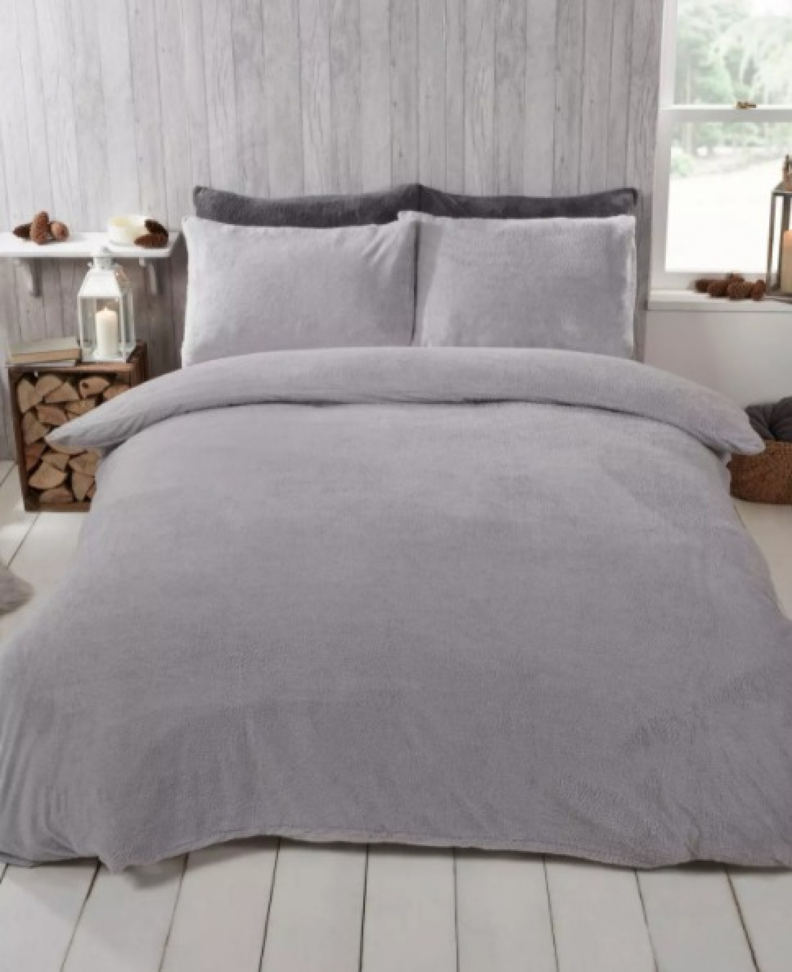 brentfords grey teddy fleece double duvet set