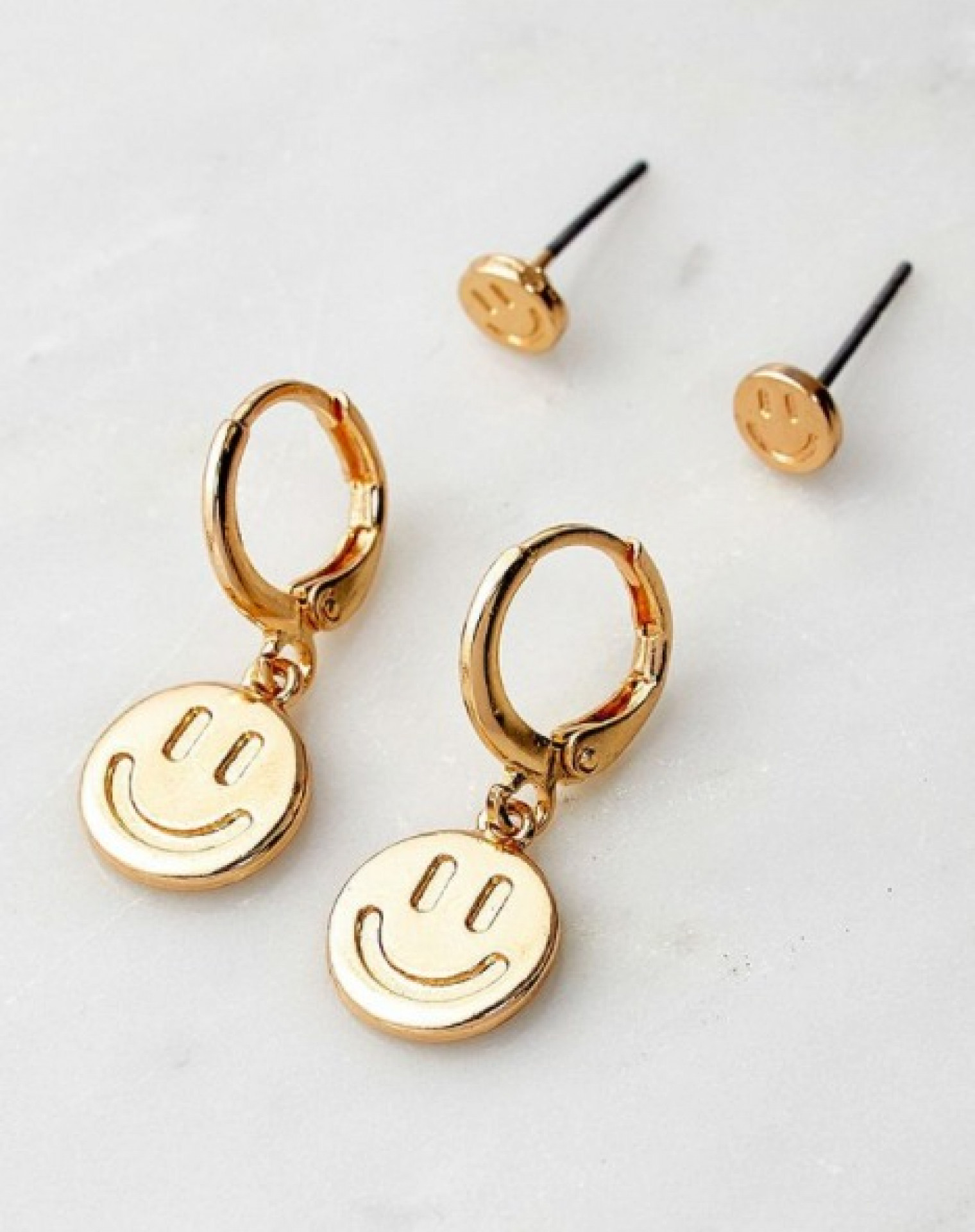 Smiley Metal Earrings 4-Pack