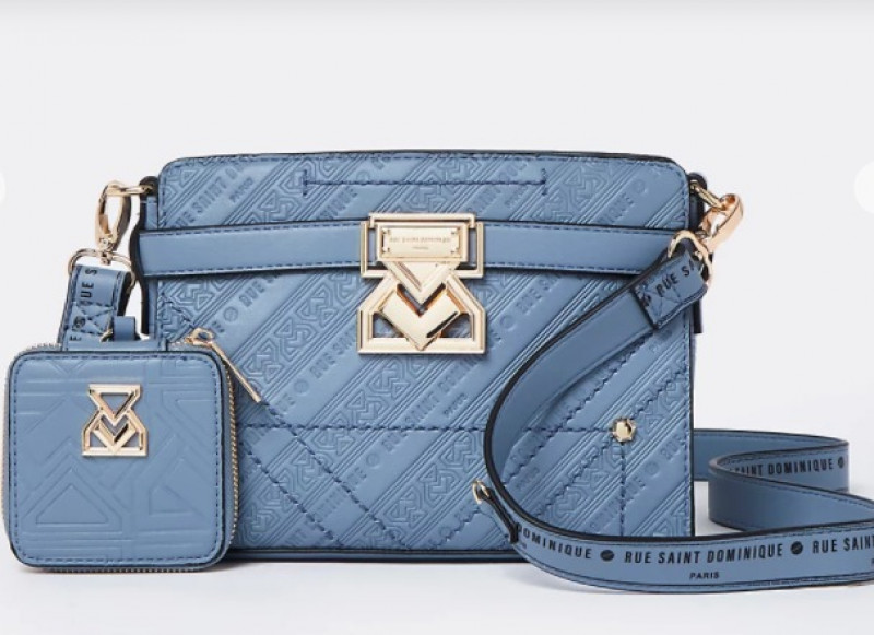 RSD Blue Embossed Boxy Bag with Pouch