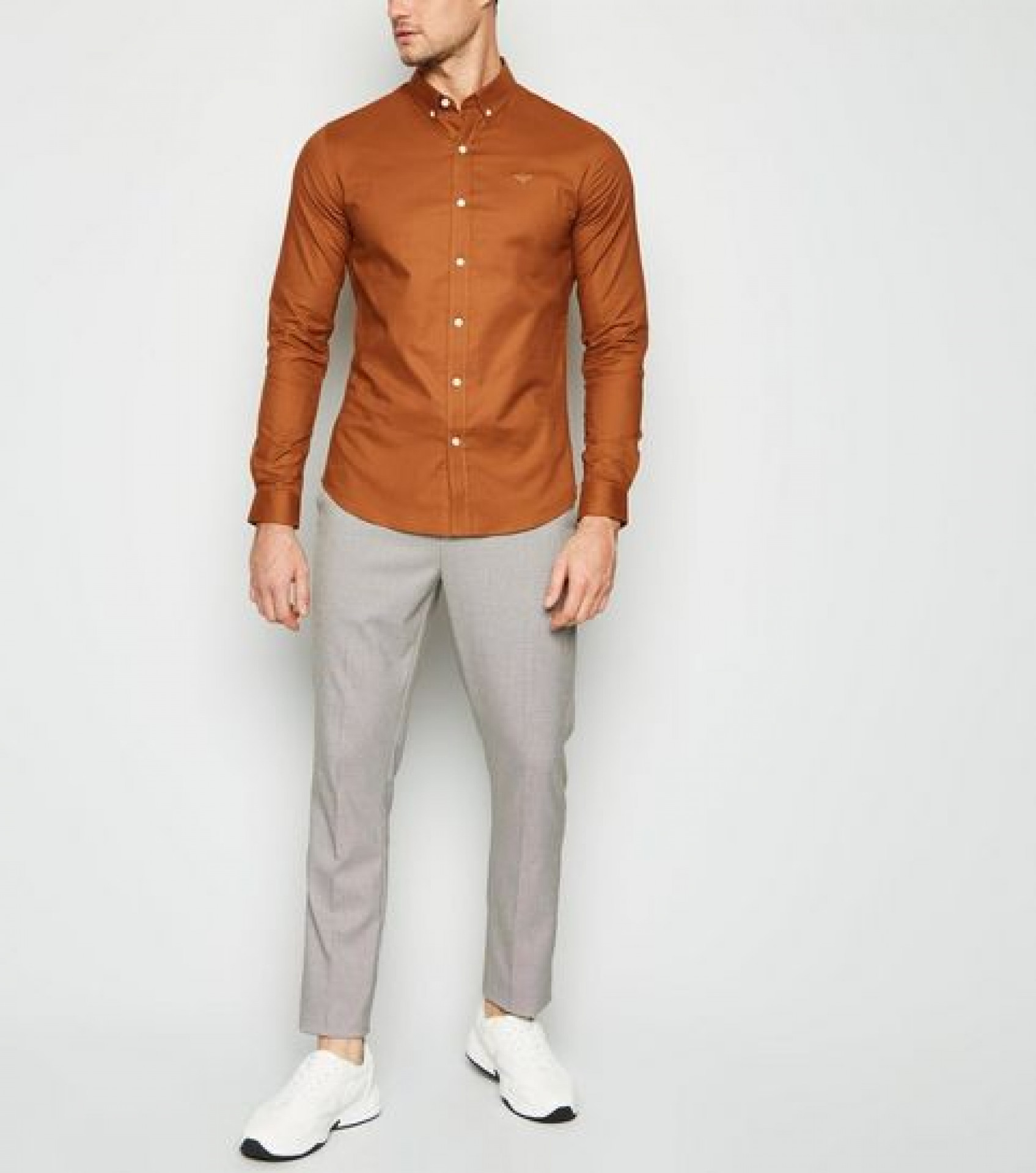 Tan Bee Embroidered Muscle Fit Oxford Shirt
