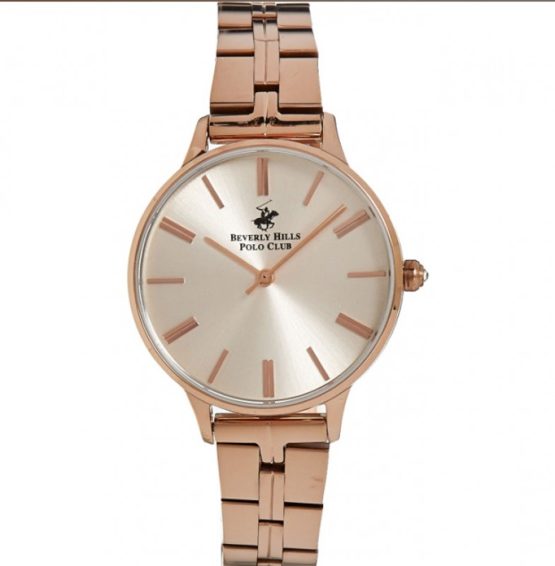 BEVERLY HILLS POLO CLUB  Rose Gold Tone Stainless Steel Analogue Watch