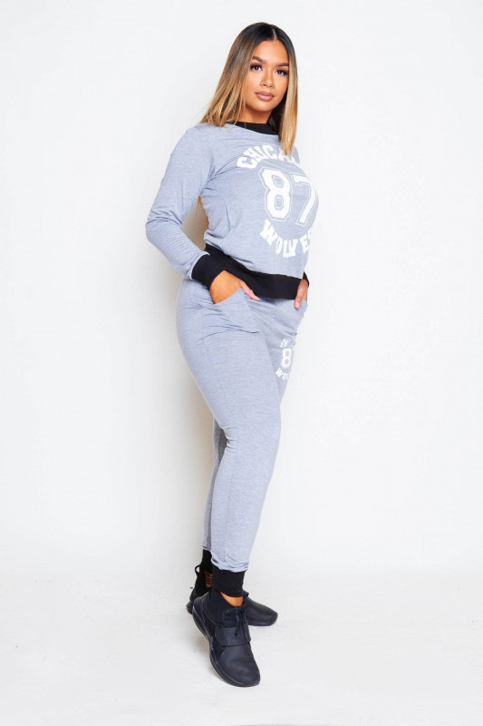 Light Grey Jersey Chicago Printed Top & Joggers Set