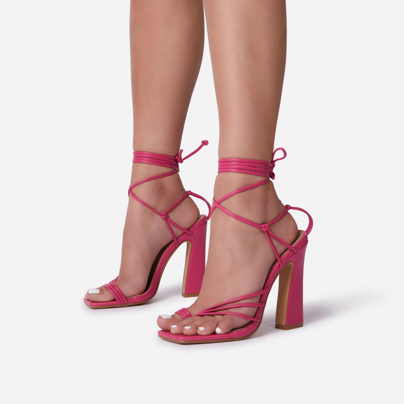 Wrap-Party Strappy Lace Up Square Toe Block Heel In Fuchsia Pink Faux Leather