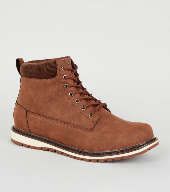 Tan Lace Up Hiker Boots