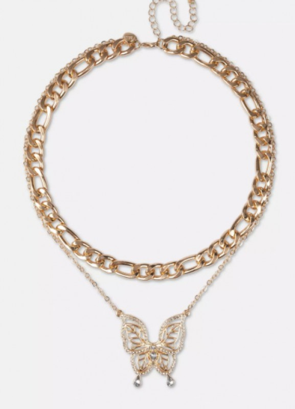 gold look butterfly chain layered necklace