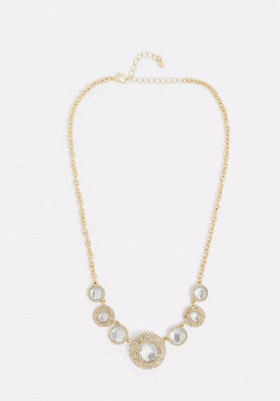 gold look multi circle embellished necklace