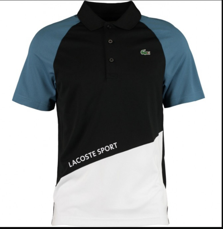 LACOSTE  Black & Blue Colour Block Polo Shirt