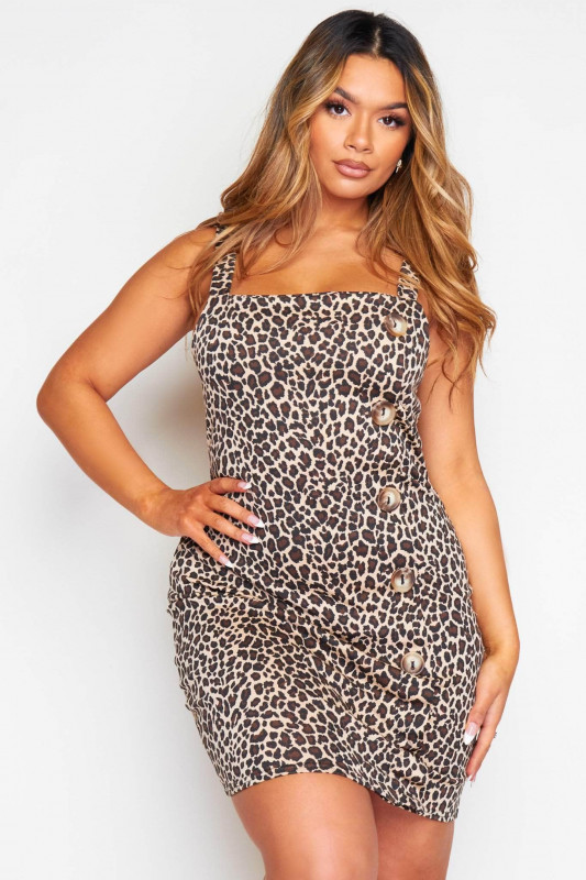 Leopard Printed Mini Dress with Buttons