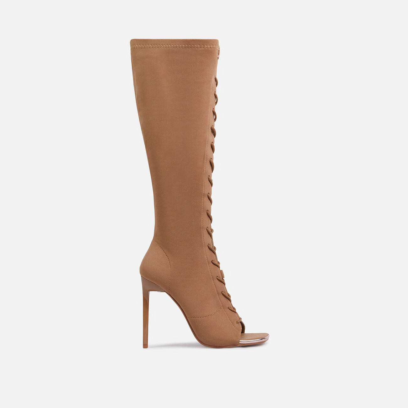 Embers Lace Up Square Peep Toe Knee High Ankle Sock Boot In Nude Knit