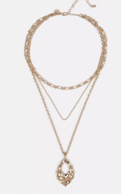 gold look layered necklace
