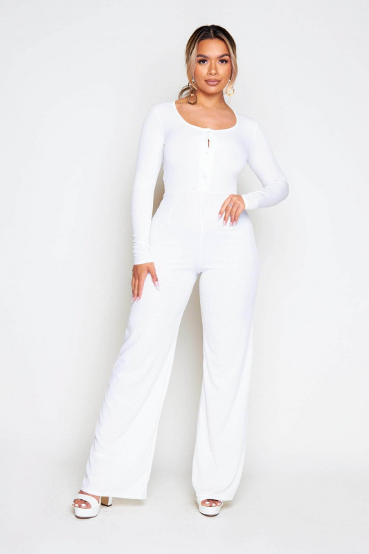 White Ribbed Buttoned Jumpsuit