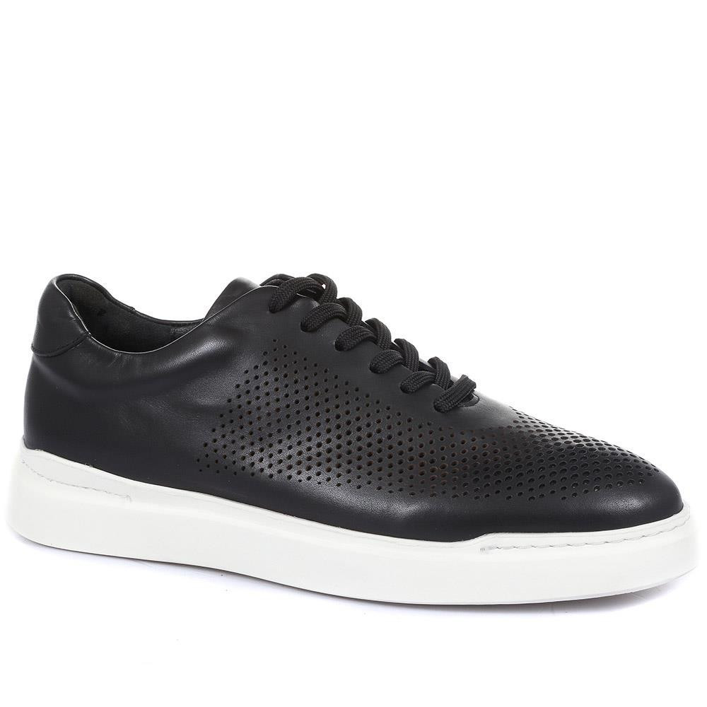 JONES BOOTMAKER SYRUS CASUAL LEATHER TRAINERS