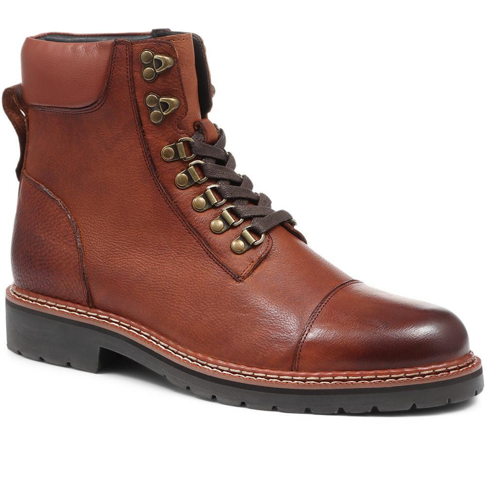 JONES BOOTMAKER LEATHER LACE-UP ANKLE BOOT