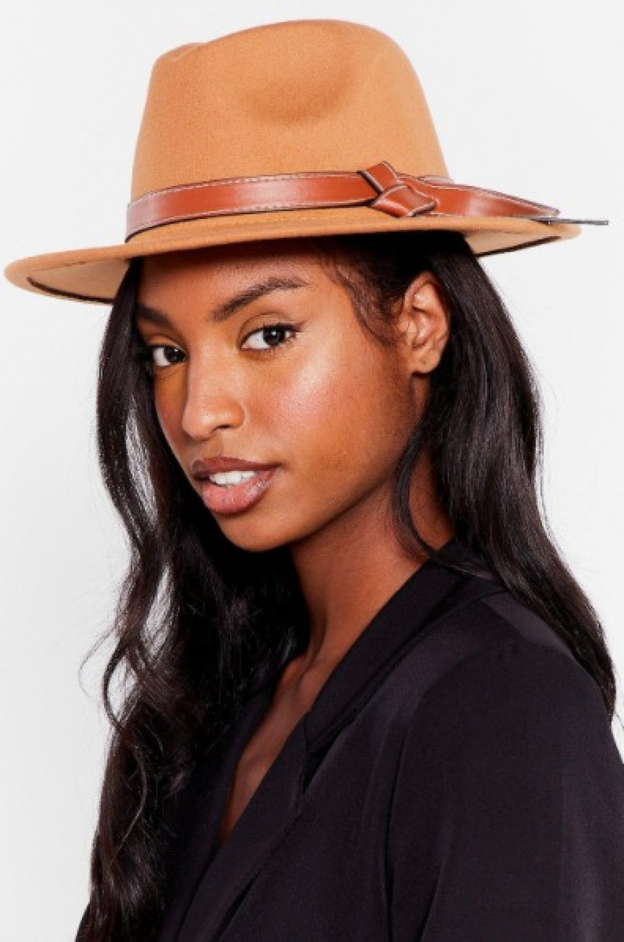 Faux Wool Knot Fedora Hat